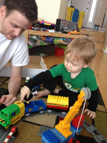 His big birthday gift! A duplo battery powered train set.