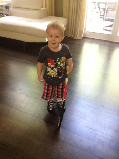 I bought him a new Blackhawks hockey stick