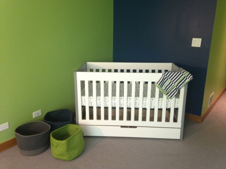 Crib. It is not all done yet. I have things to hang and different sheets but it is a start