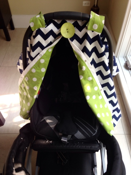 Carseat, Joovy Sit N Stand stroller, and a carseat cover from Etsy